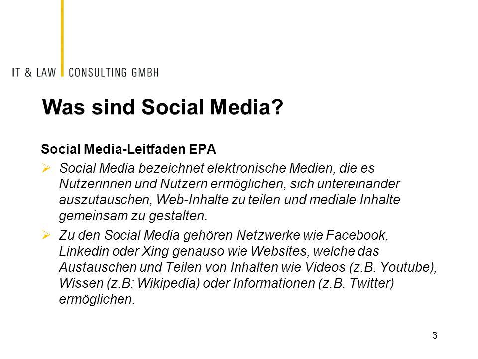 Was sind Social Media? Social Media-Leitfaden EPA  Social Media bezeichnet elektronische Medien, die es Nutzerinnen und Nutzern ermöglichen, sich unt