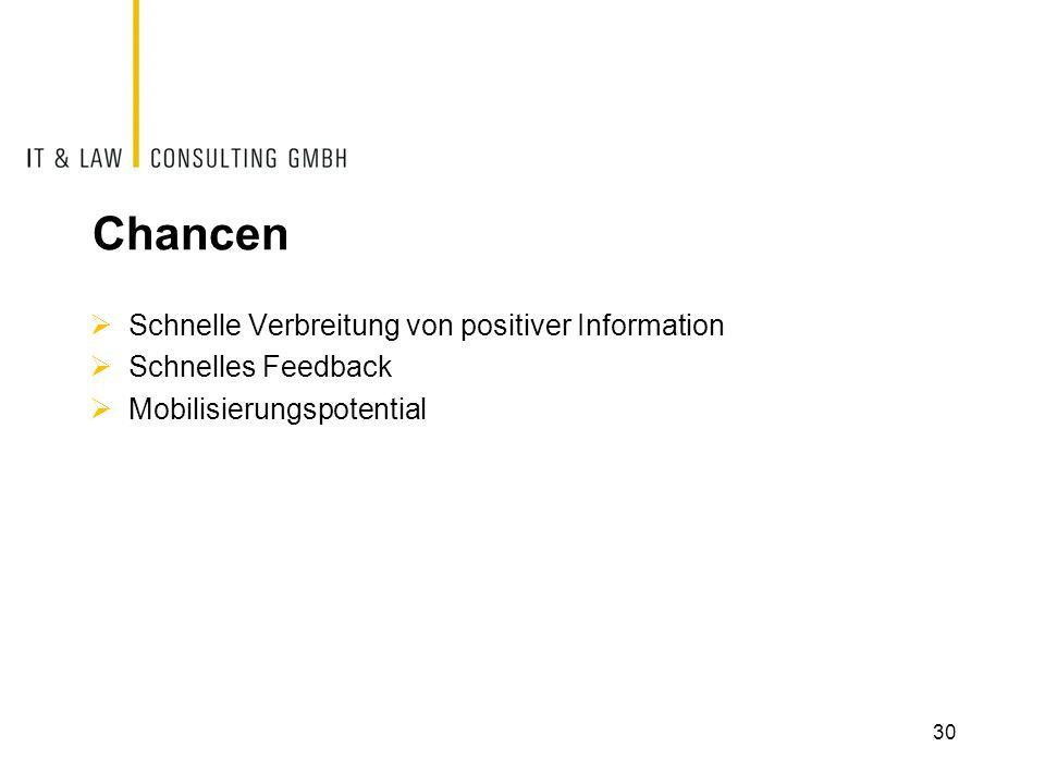 Chancen  Schnelle Verbreitung von positiver Information  Schnelles Feedback  Mobilisierungspotential 30