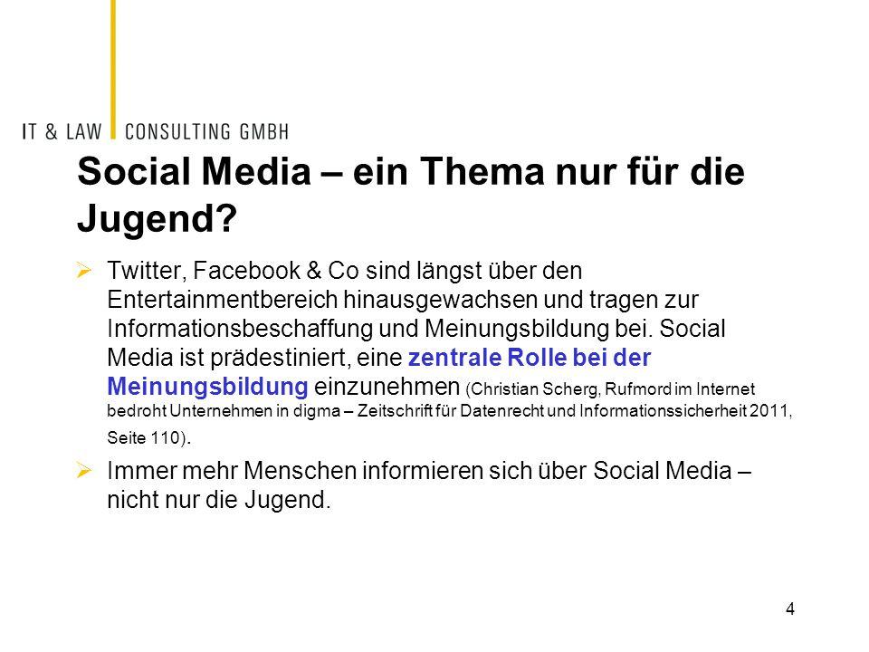 Social Media – ein Thema nur für die Jugend?  Twitter, Facebook & Co sind längst über den Entertainmentbereich hinausgewachsen und tragen zur Informa