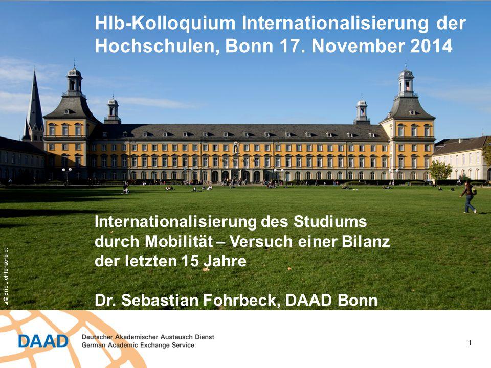 1  © Eric Lichtenscheidt Hlb-Kolloquium Internationalisierung der Hochschulen, Bonn 17. November 2014 Internationalisierung des Studiums durch Mobili