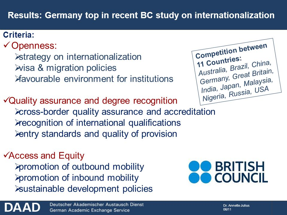 Dr. Annette Julius 06/11 Results: Germany top in recent BC study on internationalization Criteria: Openness:  strategy on internationalization  visa