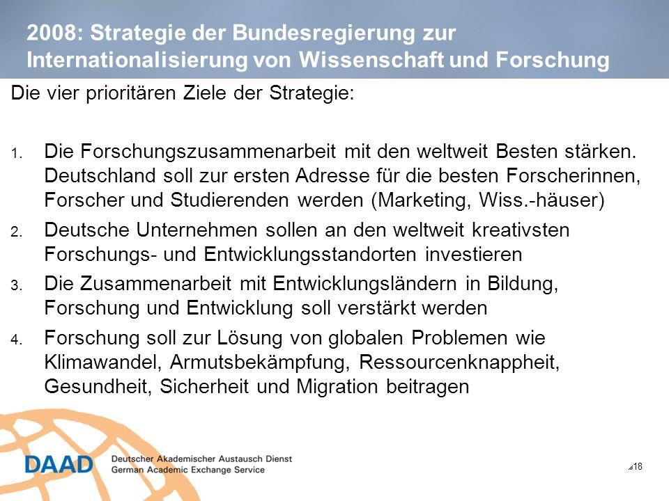 2008: Strategie der Bundesregierung zur Internationalisierung von Wissenschaft und Forschung  18 Die vier prioritären Ziele der Strategie: 1. Die For