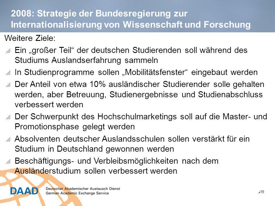 """2008: Strategie der Bundesregierung zur Internationalisierung von Wissenschaft und Forschung  19 Weitere Ziele:  Ein """"großer Teil"""" der deutschen Stu"""