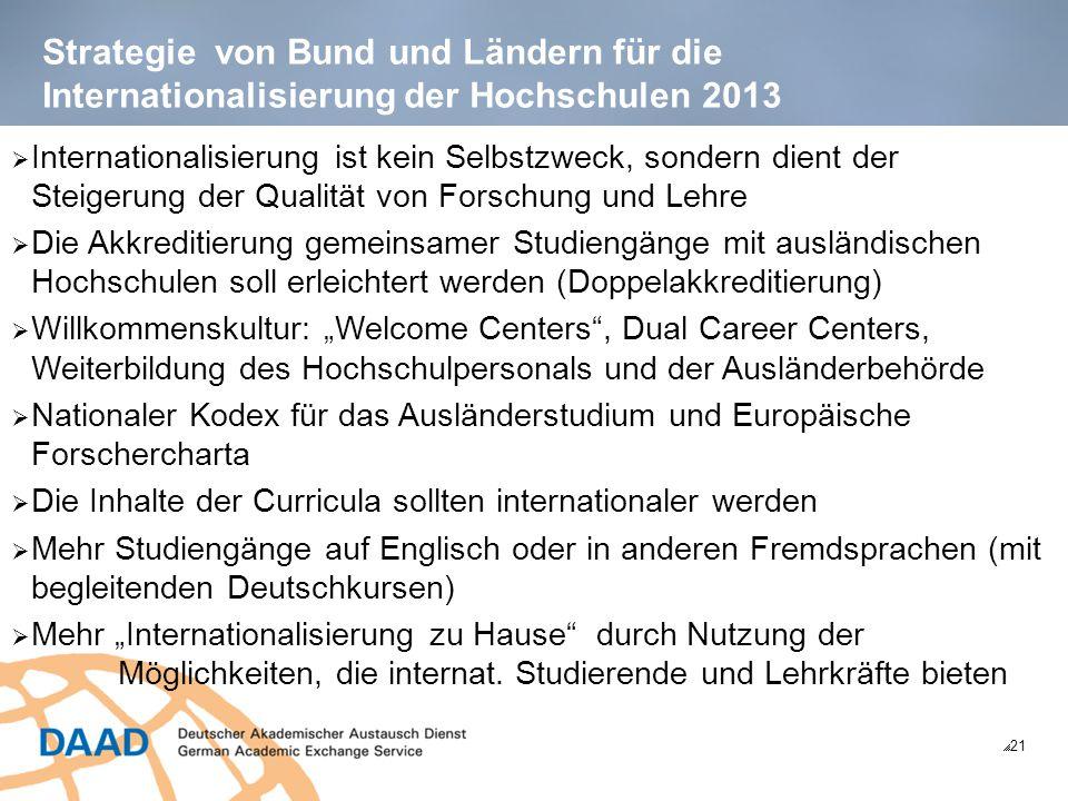 Strategie von Bund und Ländern für die Internationalisierung der Hochschulen 2013  21  Internationalisierung ist kein Selbstzweck, sondern dient der