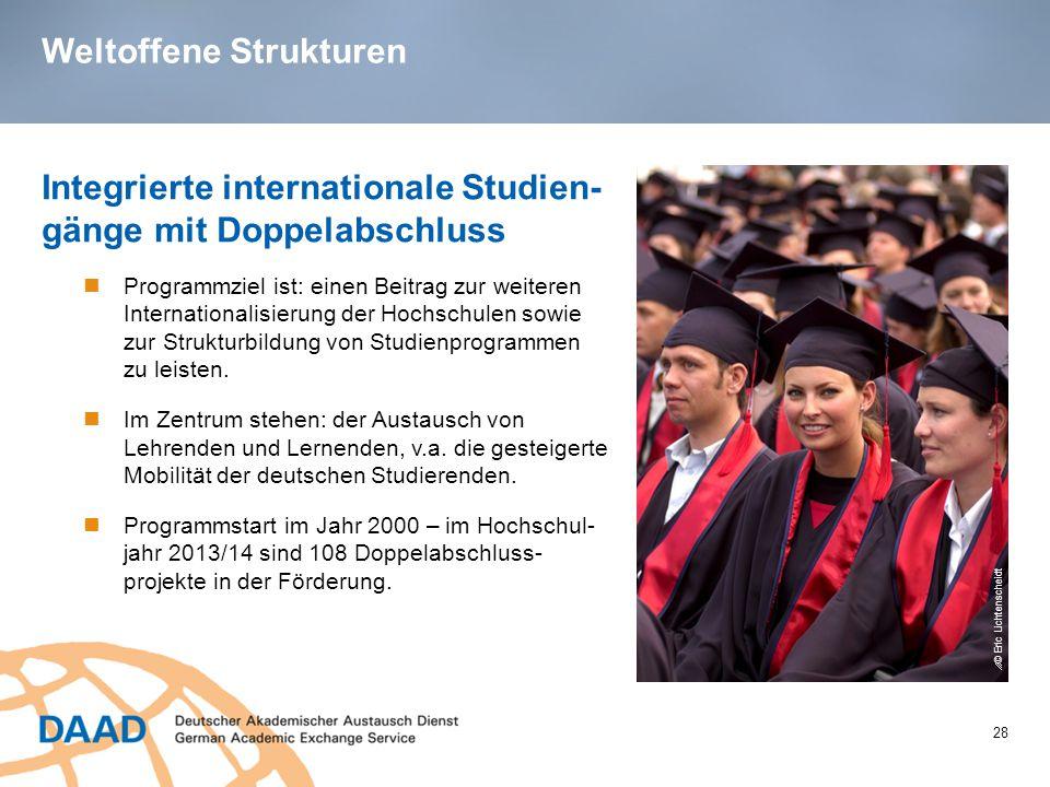 Weltoffene Strukturen 28 Integrierte internationale Studien- gänge mit Doppelabschluss Programmziel ist: einen Beitrag zur weiteren Internationalisierung der Hochschulen sowie zur Strukturbildung von Studienprogrammen zu leisten.
