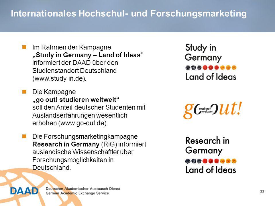 """Internationales Hochschul- und Forschungsmarketing 33 Im Rahmen der Kampagne """"Study in Germany – Land of Ideas"""" informiert der DAAD über den Studienst"""