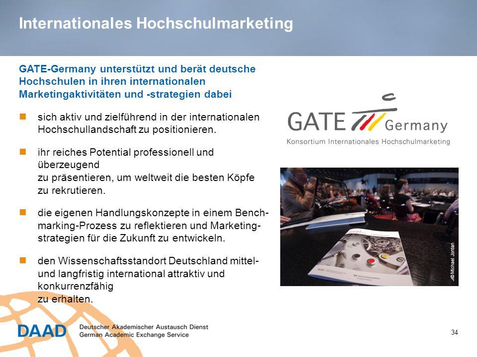 Internationales Hochschulmarketing 34 GATE-Germany unterstützt und berät deutsche Hochschulen in ihren internationalen Marketingaktivitäten und -strategien dabei sich aktiv und zielführend in der internationalen Hochschullandschaft zu positionieren.