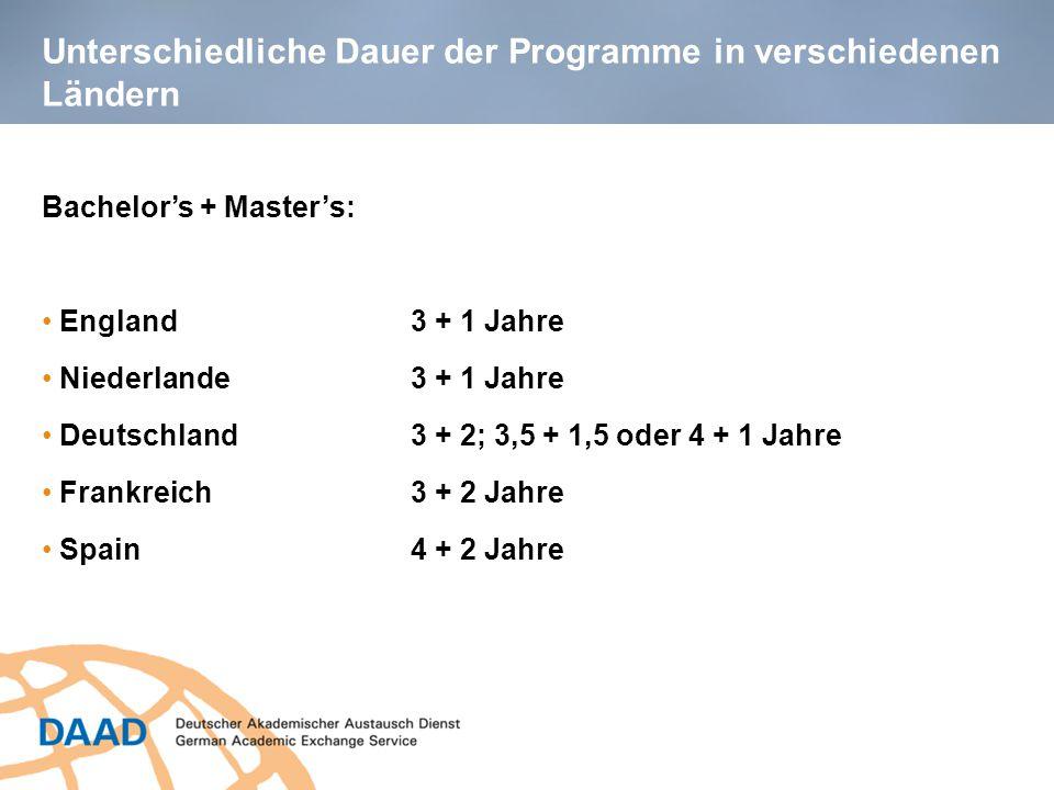 Unterschiedliche Dauer der Programme in verschiedenen Ländern Bachelor's + Master's: England 3 + 1 Jahre Niederlande 3 + 1 Jahre Deutschland3 + 2; 3,5