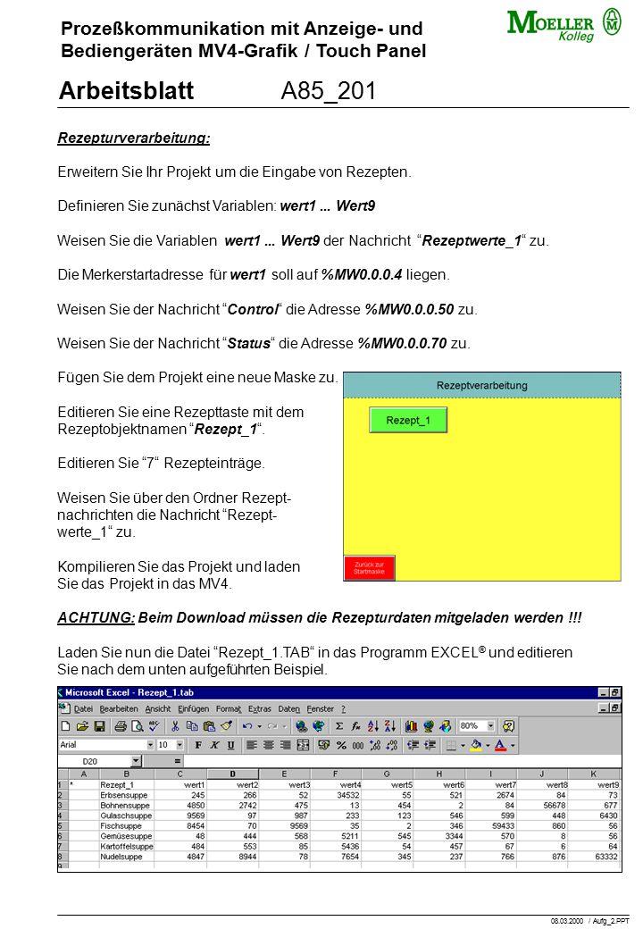 Prozeßkommunikation mit Anzeige- und Bediengeräten MV4-Grafik / Touch Panel ArbeitsblattA85_201 Rezepturverarbeitung: Erweitern Sie Ihr Projekt um die Eingabe von Rezepten.