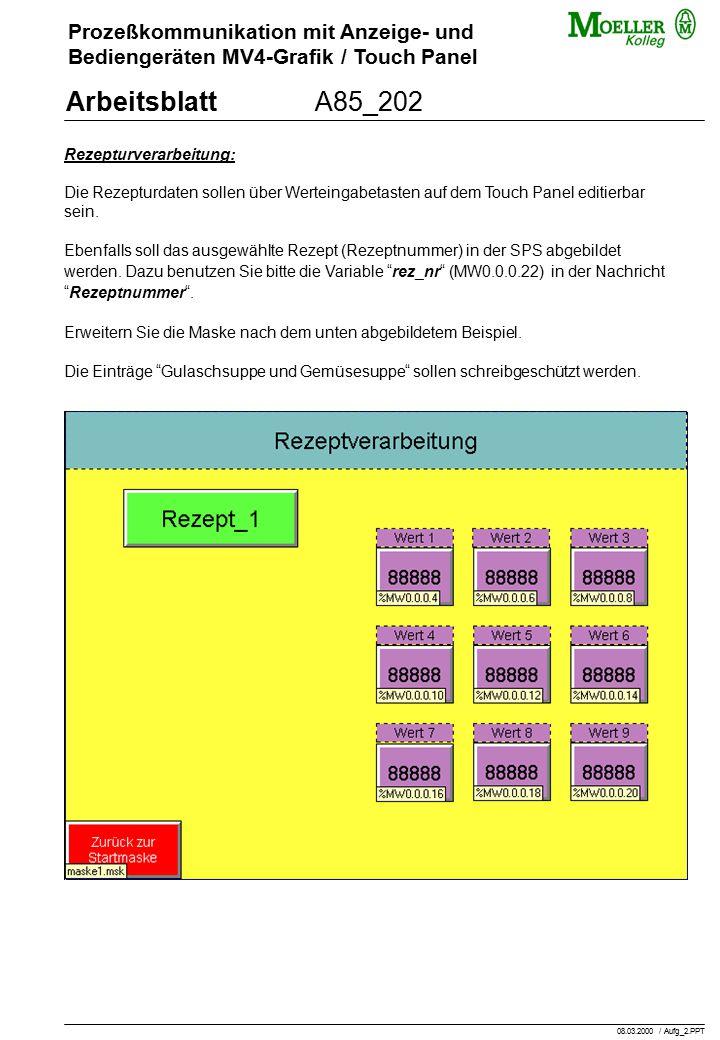 Prozeßkommunikation mit Anzeige- und Bediengeräten MV4-Grafik / Touch Panel ArbeitsblattA85_202 Rezepturverarbeitung: Die Rezepturdaten sollen über Werteingabetasten auf dem Touch Panel editierbar sein.