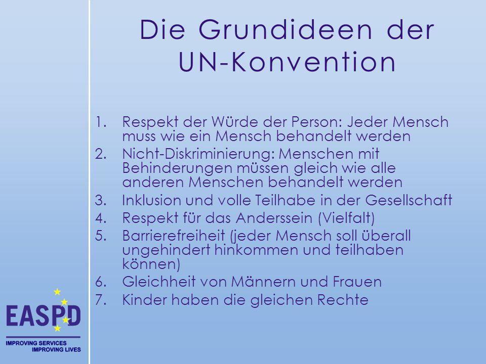 Die Grundideen der UN-Konvention 1.Respekt der Würde der Person: Jeder Mensch muss wie ein Mensch behandelt werden 2.Nicht-Diskriminierung: Menschen m