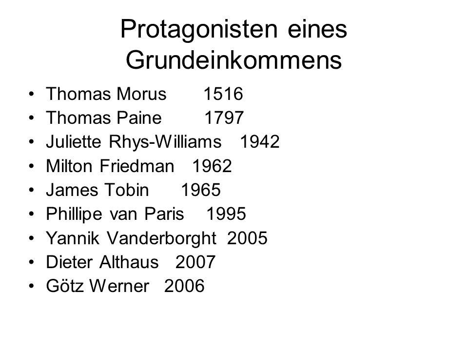 Protagonisten eines Grundeinkommens Thomas Morus 1516 Thomas Paine 1797 Juliette Rhys-Williams 1942 Milton Friedman 1962 James Tobin 1965 Phillipe van