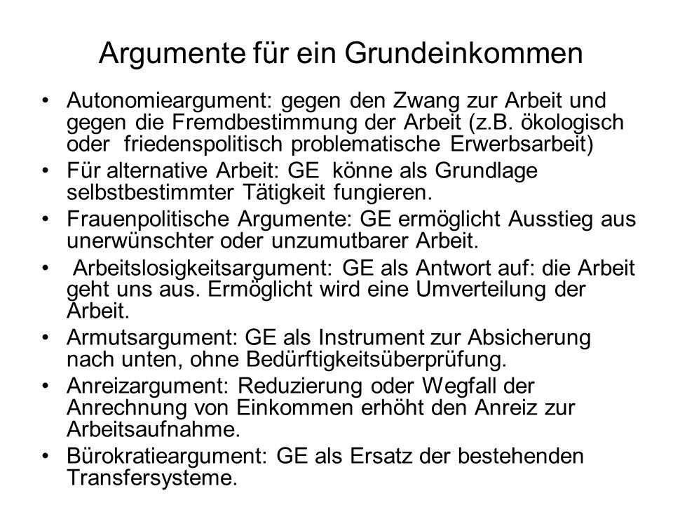 Argumente für ein Grundeinkommen Autonomieargument: gegen den Zwang zur Arbeit und gegen die Fremdbestimmung der Arbeit (z.B. ökologisch oder friedens