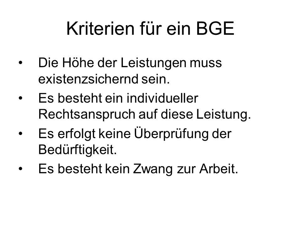 Kriterien für ein BGE Die Höhe der Leistungen muss existenzsichernd sein.