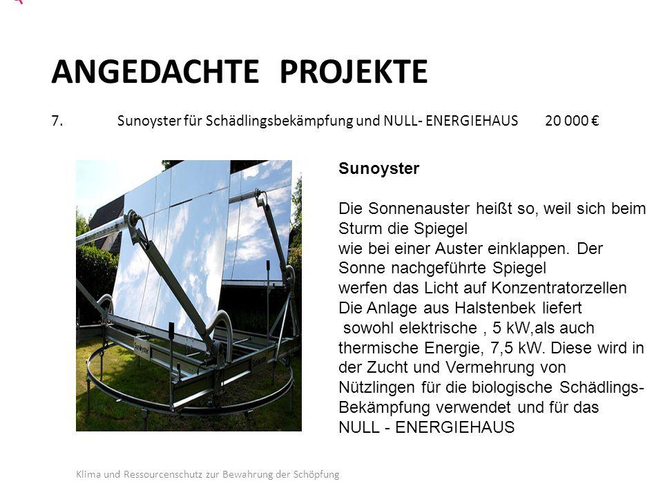 ANGEDACHTE PROJEKTE 7.Sunoyster für Schädlingsbekämpfung und NULL- ENERGIEHAUS 20 000 € Klima und Ressourcenschutz zur Bewahrung der Schöpfung Sunoyster Die Sonnenauster heißt so, weil sich beim Sturm die Spiegel wie bei einer Auster einklappen.