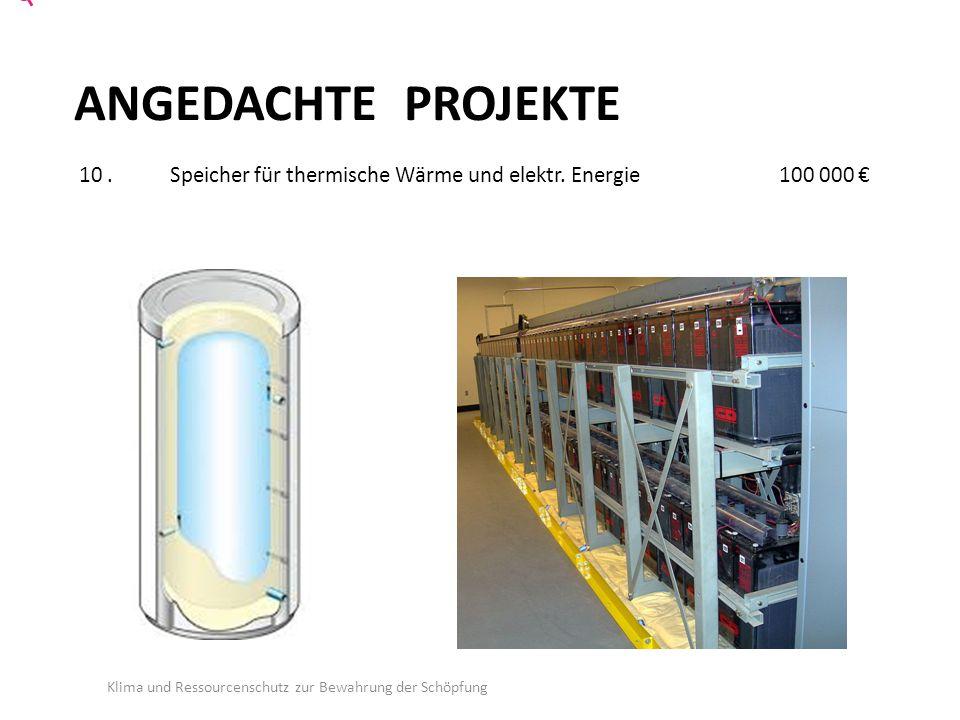 ANGEDACHTE PROJEKTE 10.Speicher für thermische Wärme und elektr.