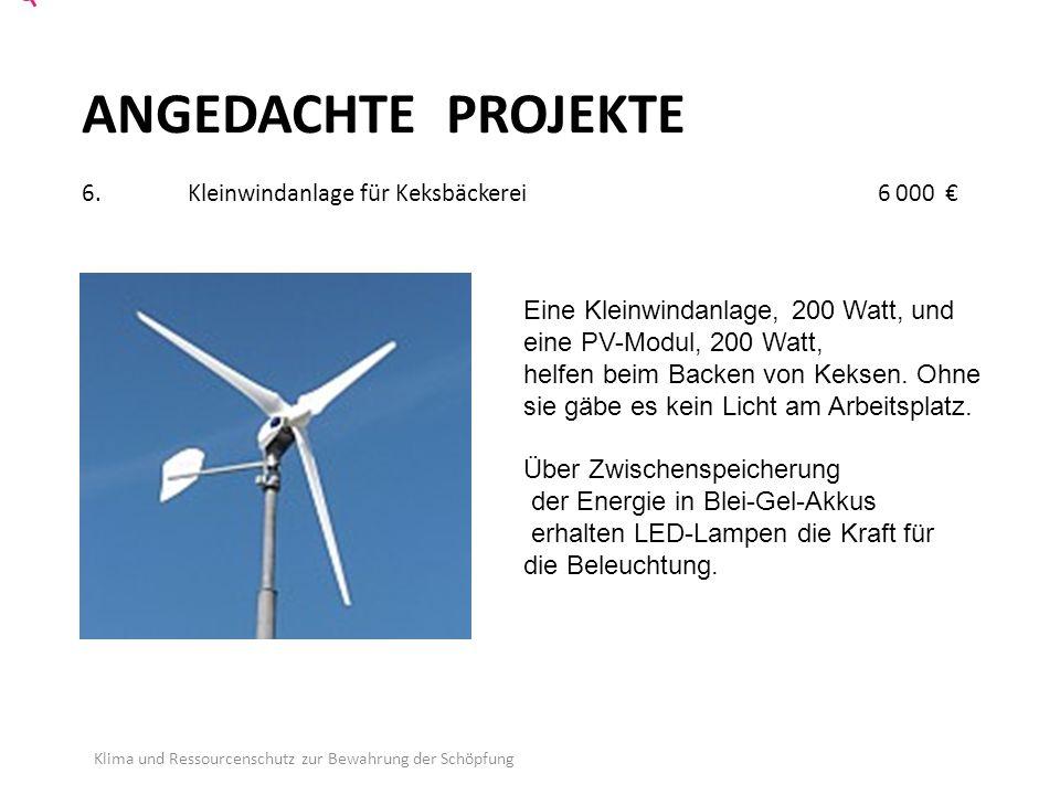 ANGEDACHTE PROJEKTE 6.Kleinwindanlage für Keksbäckerei 6 000 € Klima und Ressourcenschutz zur Bewahrung der Schöpfung Eine Kleinwindanlage, 200 Watt, und eine PV-Modul, 200 Watt, helfen beim Backen von Keksen.