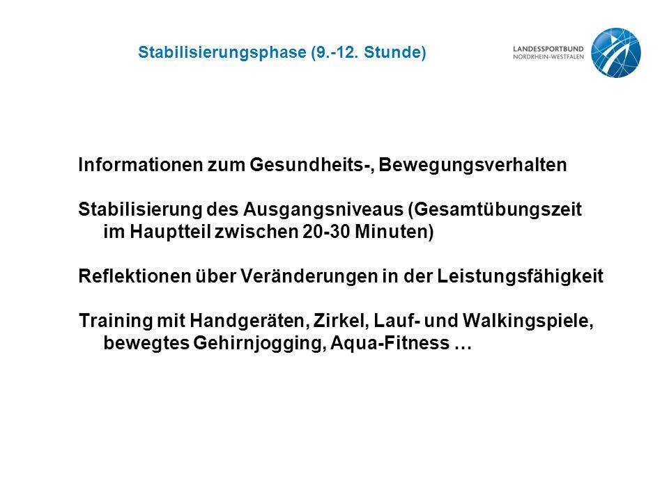 Stabilisierungsphase (9.-12. Stunde) Informationen zum Gesundheits-, Bewegungsverhalten Stabilisierung des Ausgangsniveaus (Gesamtübungszeit im Hauptt