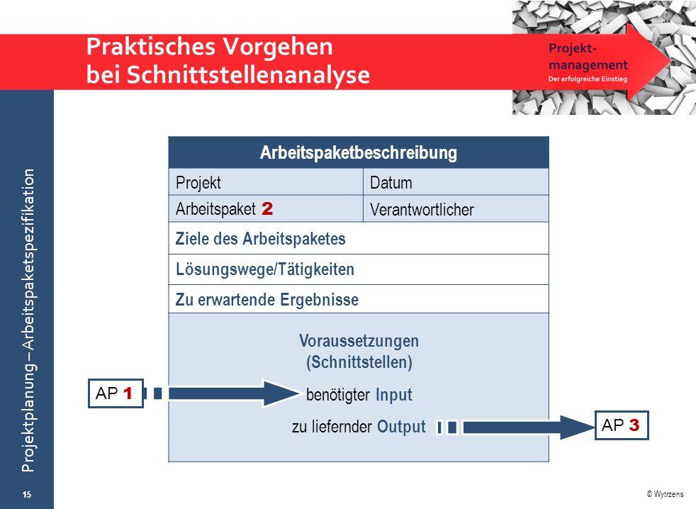 © Wytrzens Projektplanung – Arbeitspaketspezifikation Praktisches Vorgehen bei Schnittstellenanalyse 15 Arbeitspaketbeschreibung ProjektDatum Arbeitsp