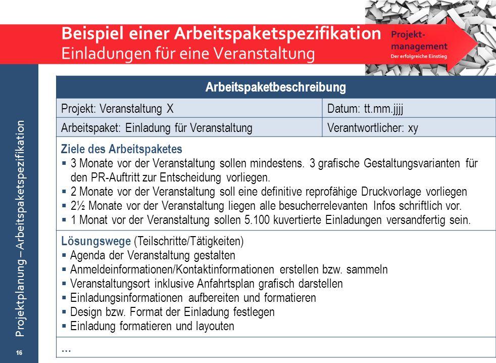 © Wytrzens Projektplanung – Arbeitspaketspezifikation Beispiel einer Arbeitspaketspezifikation Einladungen für eine Veranstaltung 16 Arbeitspaketbesch
