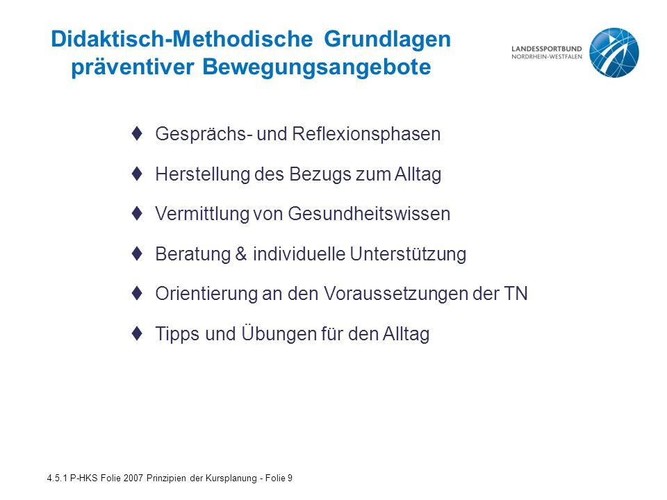 Teilnehmer/innen-Orientierung: 4.5.1 P-HKS Folie 2007 Prinzipien der Kursplanung - Folie 10  den individuellen Lebensalltag des Teilnehmers berücksichtigt.