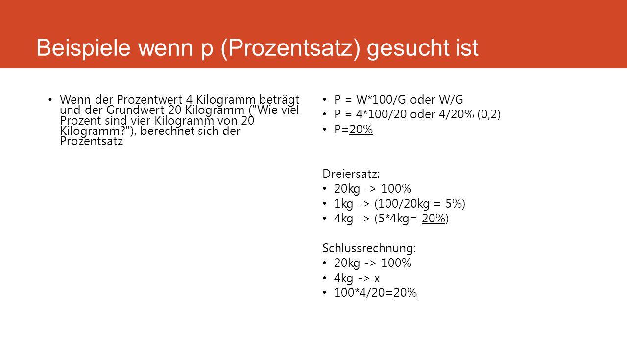 Beispiele wenn p (Prozentsatz) gesucht ist Wenn der Prozentwert 4 Kilogramm beträgt und der Grundwert 20 Kilogramm (