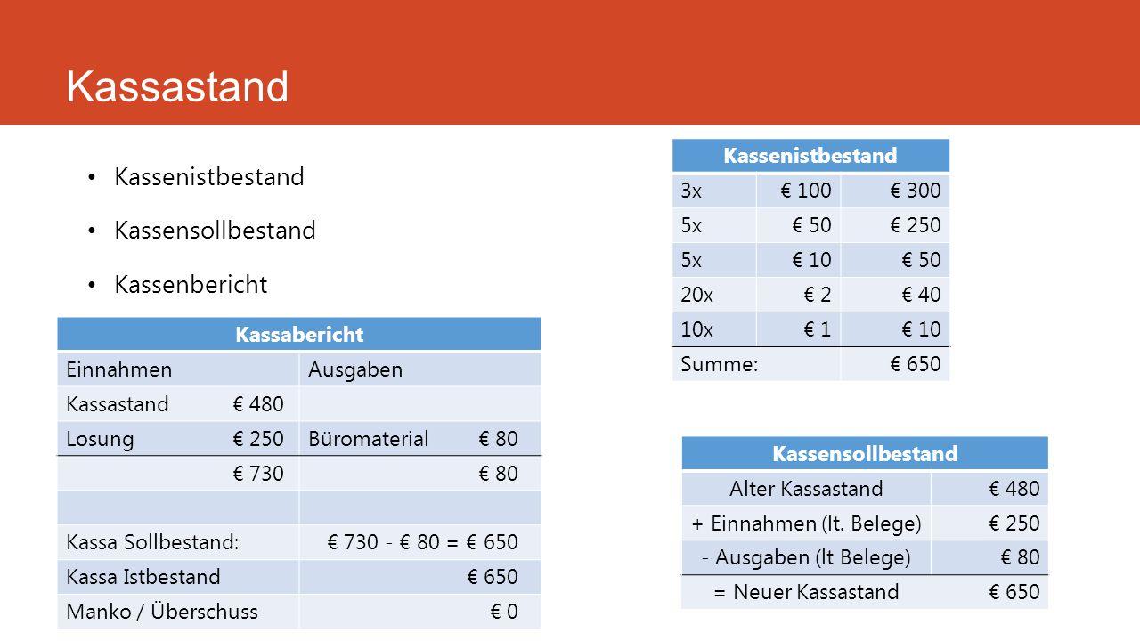 Kassastand Kassenistbestand Kassensollbestand Kassenbericht Kassabericht EinnahmenAusgaben Kassastand€ 480 Losung€ 250Büromaterial€ 80 € 730€ 80 Kassa