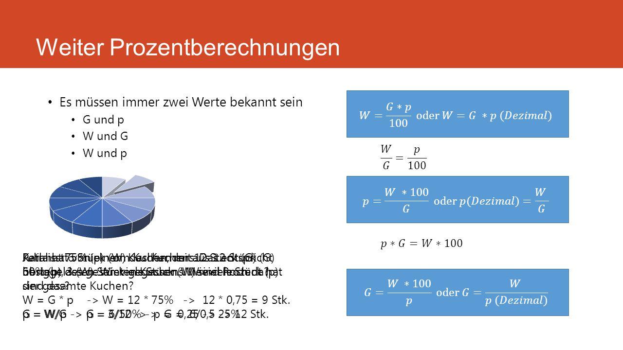 Weiter Prozentberechnungen Es müssen immer zwei Werte bekannt sein G und p W und G W und p Karl hat 75% (p) vom Kuchen mit 12 Stück (G) übriggelassen.