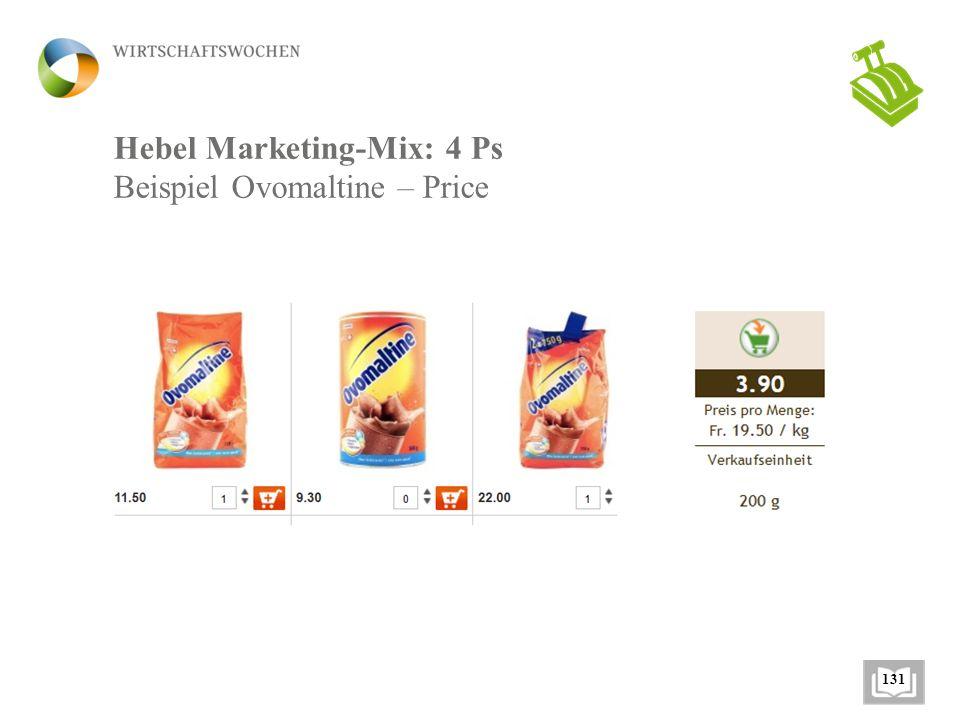 Hebel Marketing-Mix: 4 Ps Beispiel Ovomaltine – Price 131
