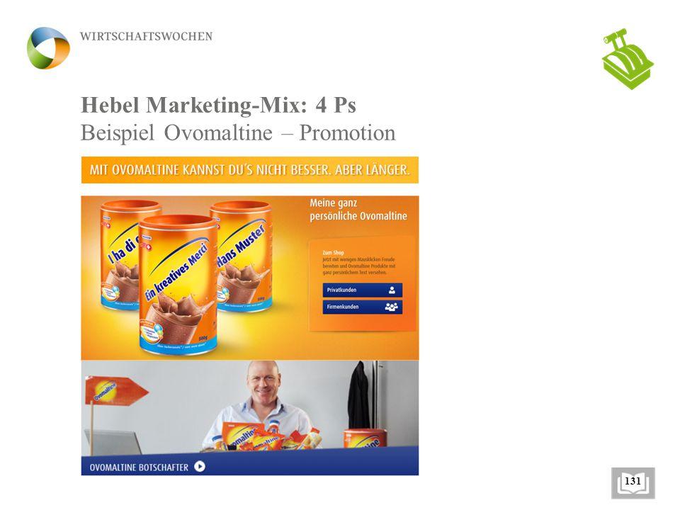 Hebel Marketing-Mix: 4 Ps Beispiel Ovomaltine – Promotion 131