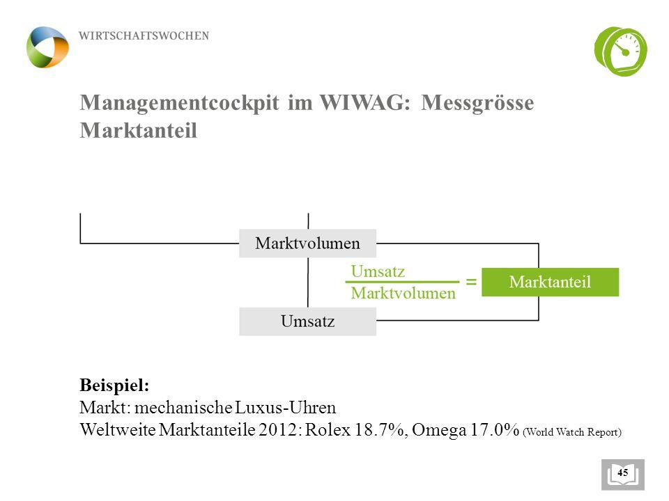 Managementcockpit im WIWAG: Messgrösse Marktanteil Beispiel: Markt: mechanische Luxus-Uhren Weltweite Marktanteile 2012: Rolex 18.7%, Omega 17.0% (World Watch Report) 45