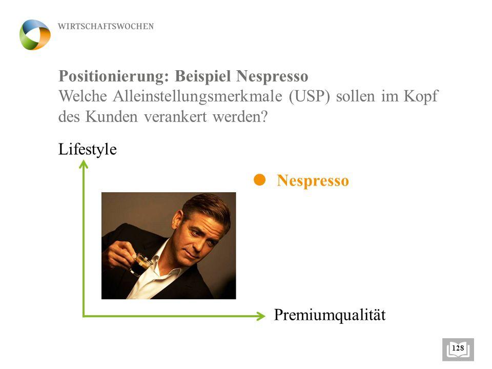 Positionierung: Beispiel Nespresso Welche Alleinstellungsmerkmale (USP) sollen im Kopf des Kunden verankert werden.