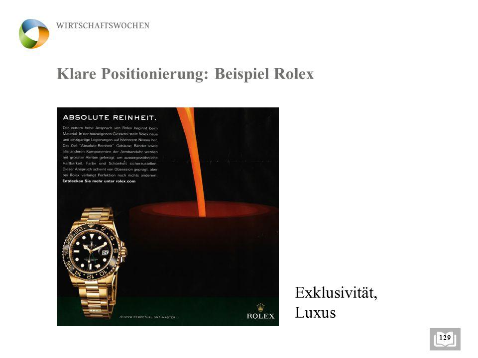 Klare Positionierung: Beispiel Rolex Exklusivität, Luxus 129