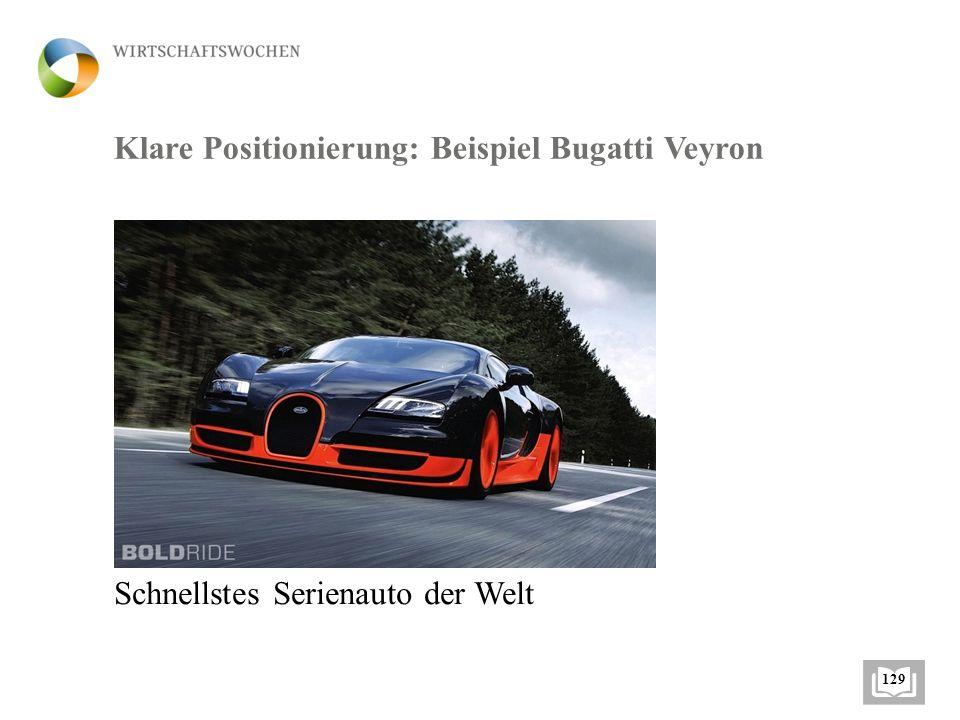 Klare Positionierung: Beispiel Bugatti Veyron Schnellstes Serienauto der Welt 129