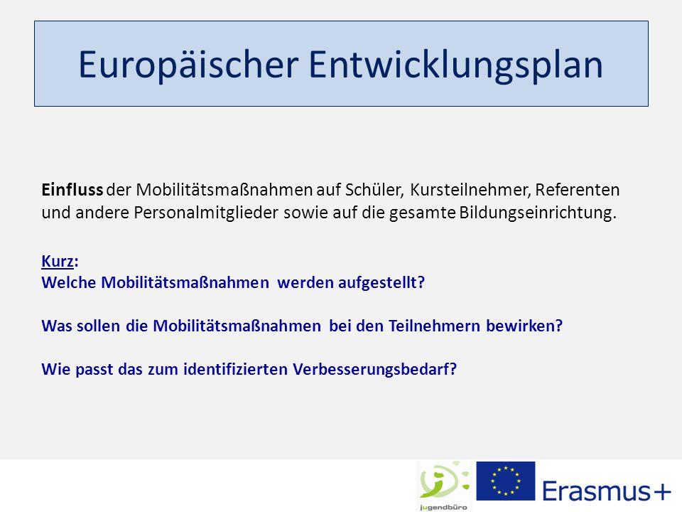 Europäischer Entwicklungsplan Einfluss der Mobilitätsmaßnahmen auf Schüler, Kursteilnehmer, Referenten und andere Personalmitglieder sowie auf die gesamte Bildungseinrichtung.