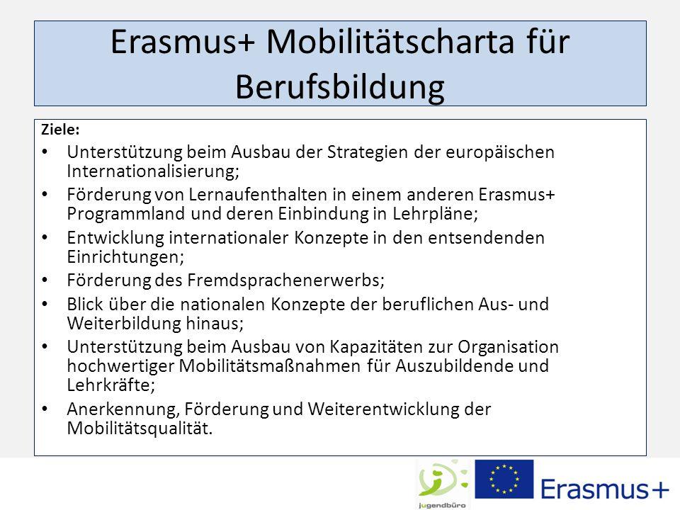Erasmus+ Mobilitätscharta für Berufsbildung Ziele: Unterstützung beim Ausbau der Strategien der europäischen Internationalisierung; Förderung von Lernaufenthalten in einem anderen Erasmus+ Programmland und deren Einbindung in Lehrpläne; Entwicklung internationaler Konzepte in den entsendenden Einrichtungen; Förderung des Fremdsprachenerwerbs; Blick über die nationalen Konzepte der beruflichen Aus- und Weiterbildung hinaus; Unterstützung beim Ausbau von Kapazitäten zur Organisation hochwertiger Mobilitätsmaßnahmen für Auszubildende und Lehrkräfte; Anerkennung, Förderung und Weiterentwicklung der Mobilitätsqualität.