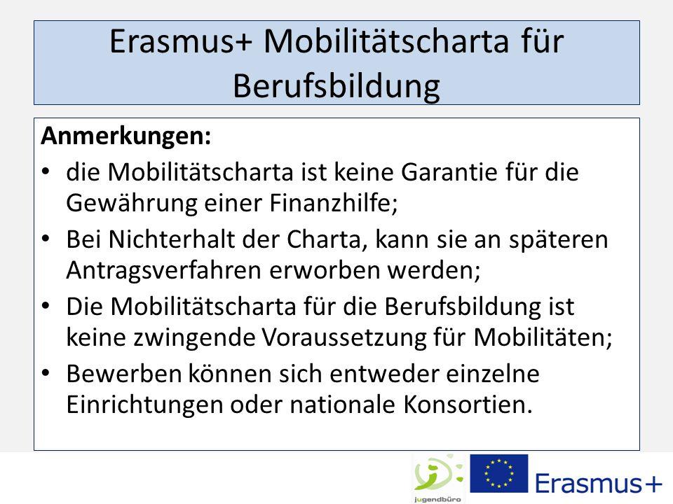 Erasmus+ Mobilitätscharta für Berufsbildung Anmerkungen: die Mobilitätscharta ist keine Garantie für die Gewährung einer Finanzhilfe; Bei Nichterhalt der Charta, kann sie an späteren Antragsverfahren erworben werden; Die Mobilitätscharta für die Berufsbildung ist keine zwingende Voraussetzung für Mobilitäten; Bewerben können sich entweder einzelne Einrichtungen oder nationale Konsortien.