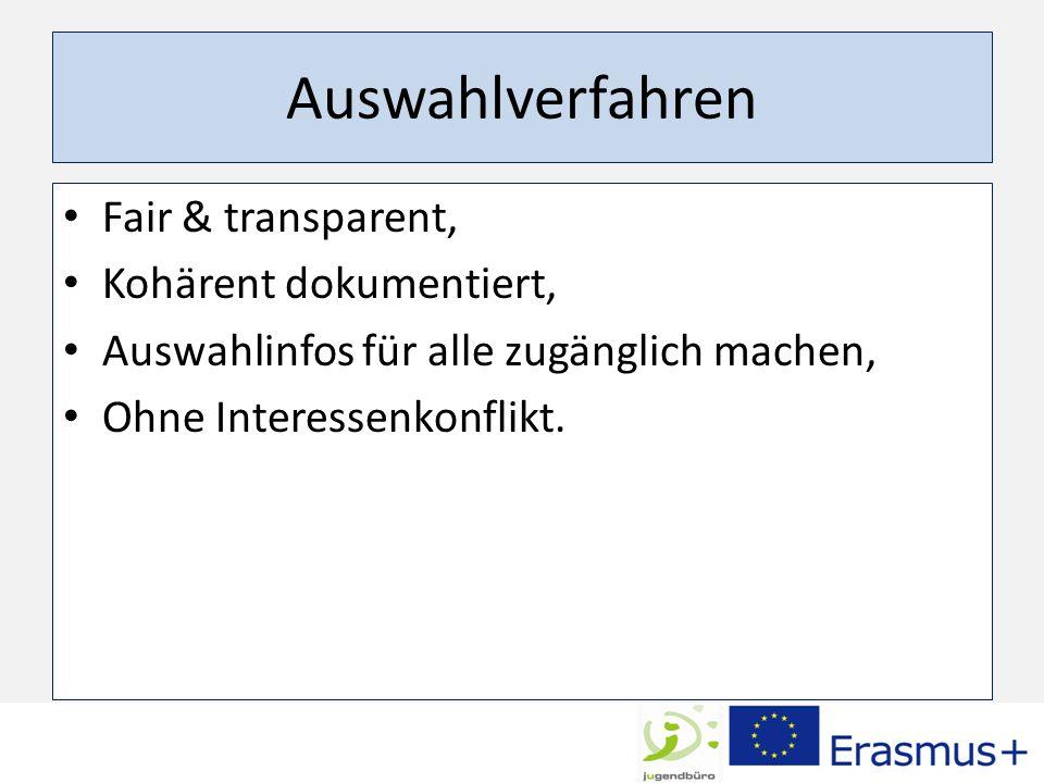 Auswahlverfahren Fair & transparent, Kohärent dokumentiert, Auswahlinfos für alle zugänglich machen, Ohne Interessenkonflikt.