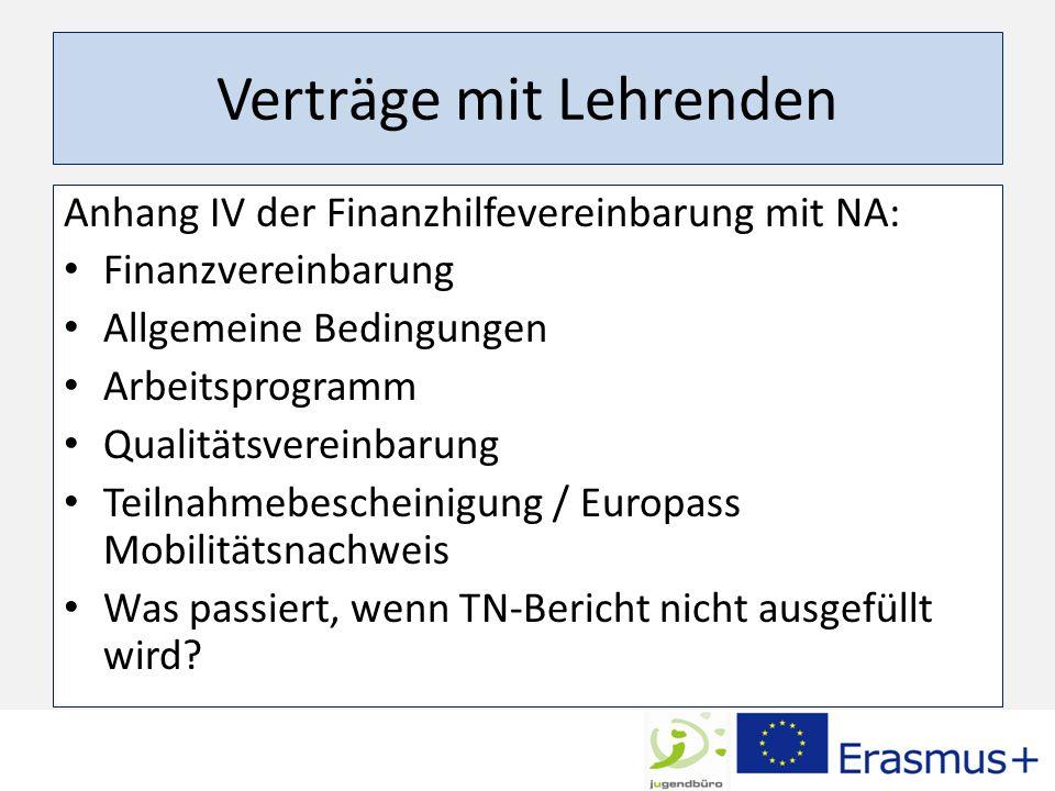 Verträge mit Lehrenden Anhang IV der Finanzhilfevereinbarung mit NA: Finanzvereinbarung Allgemeine Bedingungen Arbeitsprogramm Qualitätsvereinbarung Teilnahmebescheinigung / Europass Mobilitätsnachweis Was passiert, wenn TN-Bericht nicht ausgefüllt wird?