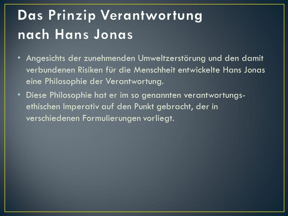 Angesichts der zunehmenden Umweltzerstörung und den damit verbundenen Risiken für die Menschheit entwickelte Hans Jonas eine Philosophie der Verantwor