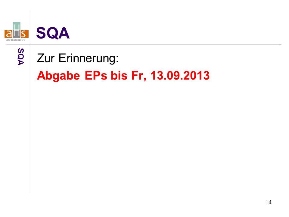 14 Zur Erinnerung: Abgabe EPs bis Fr, 13.09.2013 SQA