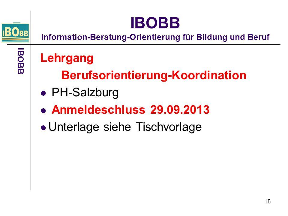 15 Lehrgang Berufsorientierung-Koordination PH-Salzburg Anmeldeschluss 29.09.2013 Unterlage siehe Tischvorlage IBOBB IBOBB Information-Beratung-Orient