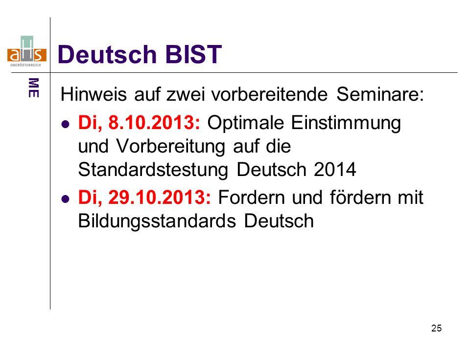 25 Deutsch BIST ME Hinweis auf zwei vorbereitende Seminare: Di, 8.10.2013: Optimale Einstimmung und Vorbereitung auf die Standardstestung Deutsch 2014