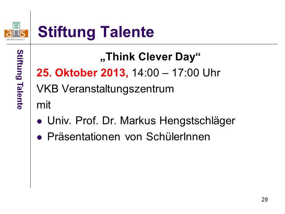 "29 Stiftung Talente ""Think Clever Day 25."