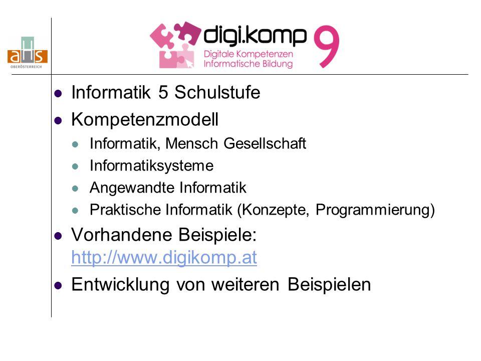 Informatik 5 Schulstufe Kompetenzmodell Informatik, Mensch Gesellschaft Informatiksysteme Angewandte Informatik Praktische Informatik (Konzepte, Progr