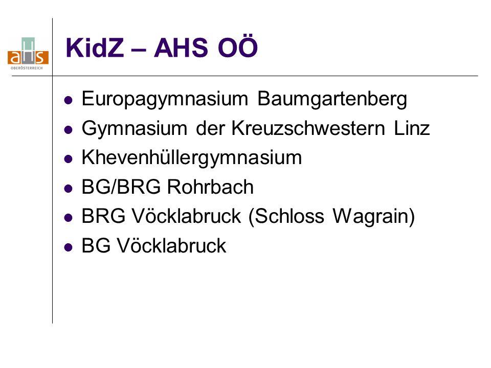 KidZ – AHS OÖ Europagymnasium Baumgartenberg Gymnasium der Kreuzschwestern Linz Khevenhüllergymnasium BG/BRG Rohrbach BRG Vöcklabruck (Schloss Wagrain