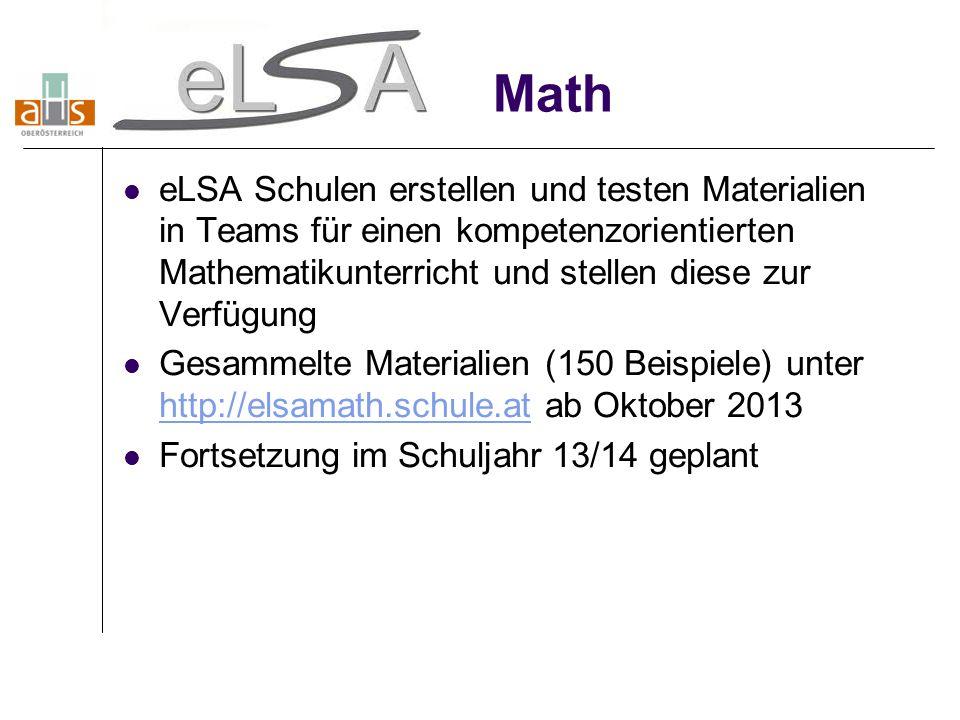 Math eLSA Schulen erstellen und testen Materialien in Teams für einen kompetenzorientierten Mathematikunterricht und stellen diese zur Verfügung Gesam