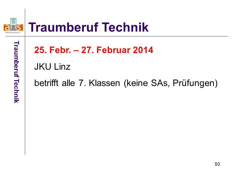 50 Traumberuf Technik 25. Febr. – 27. Februar 2014 JKU Linz betrifft alle 7. Klassen (keine SAs, Prüfungen) Traumberuf Technik