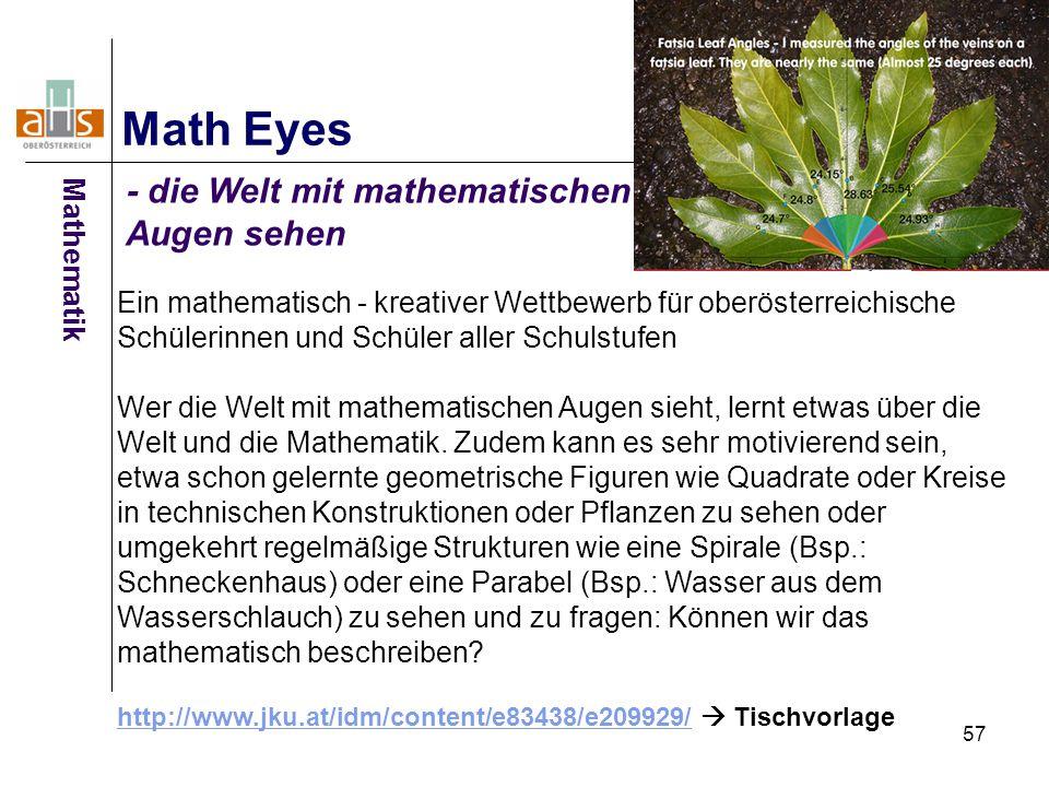 57 Math Eyes - die Welt mit mathematischen Augen sehen Ein mathematisch - kreativer Wettbewerb für oberösterreichische Schülerinnen und Schüler aller