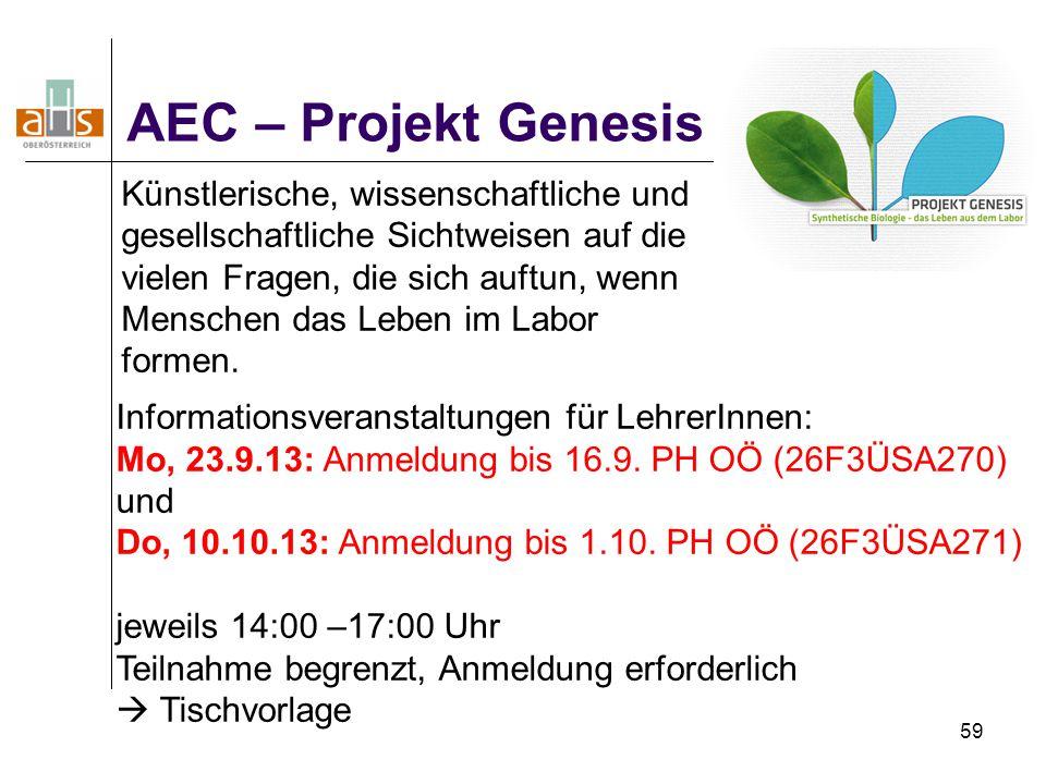 59 AEC – Projekt Genesis Informationsveranstaltungen für LehrerInnen: Mo, 23.9.13: Anmeldung bis 16.9. PH OÖ (26F3ÜSA270) und Do, 10.10.13: Anmeldung